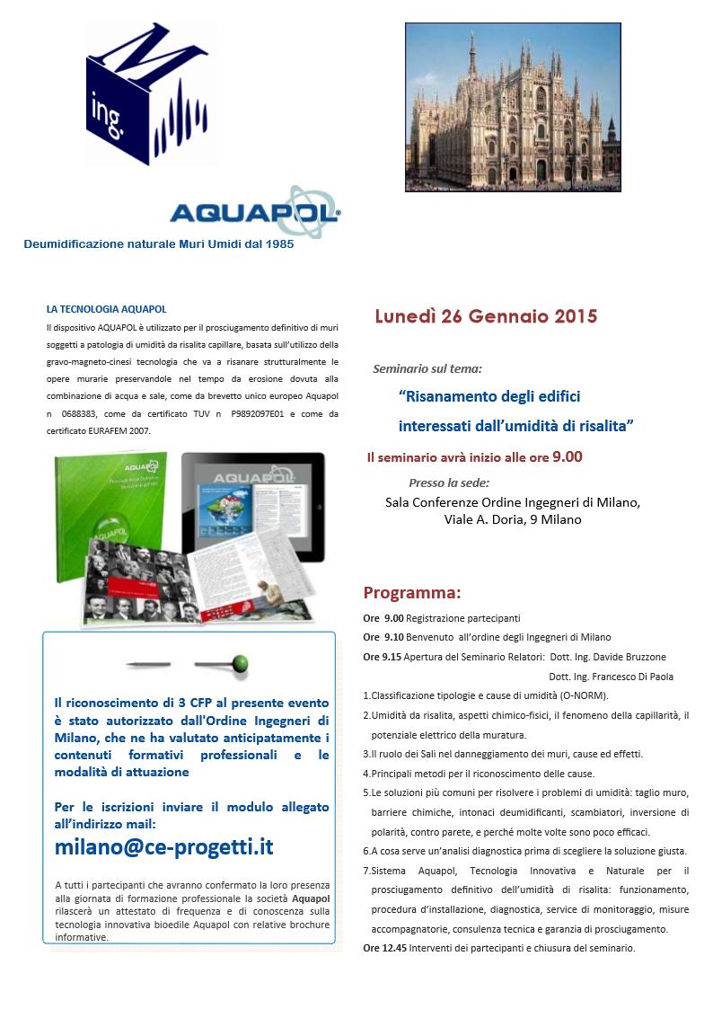 seminario sull'umidità di risalita a Milano