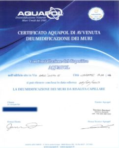 umidità di risalita - certificato Aquapol