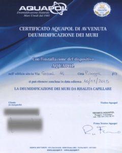 certificato Aquapol - umidità di risalita Pisogne