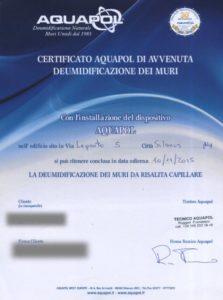 Certificato Aquapol - SIlanus- Umidità di risalita