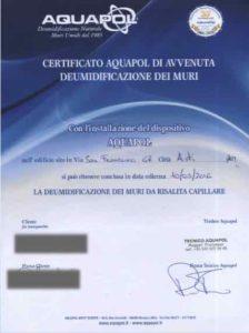 certificato umidità di risalita
