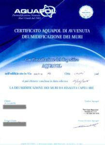 eliminazione umidità di risalita - certificato Aquapol