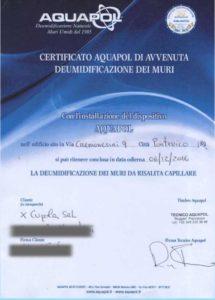 certificato umidità di risalita eliminata