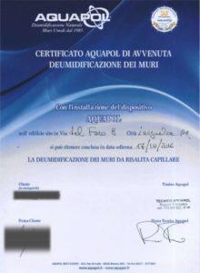 certificato di eliminazione di umidità di risalita