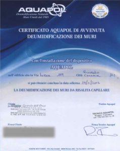 certificato - eliminazione umidità di risalita