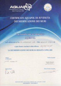 certificato Aquapol eliminazione umidità di risalita